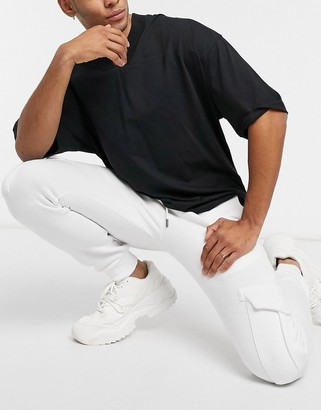 Soul Star mix and match slim fit cargo trackies in white