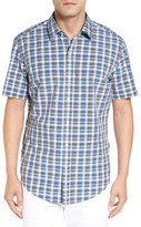 BOSS 'Robb' Slim Fit Check Short Sleeve Sport Shirt
