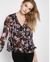 Express bright floral print tie neck peplum blouse
