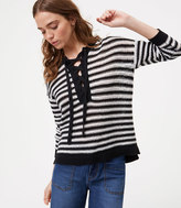LOFT Striped Lace Up Sweater