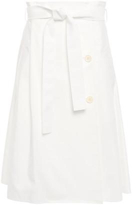 ADEAM Flared Pleated Cotton-blend Poplin Midi Skirt