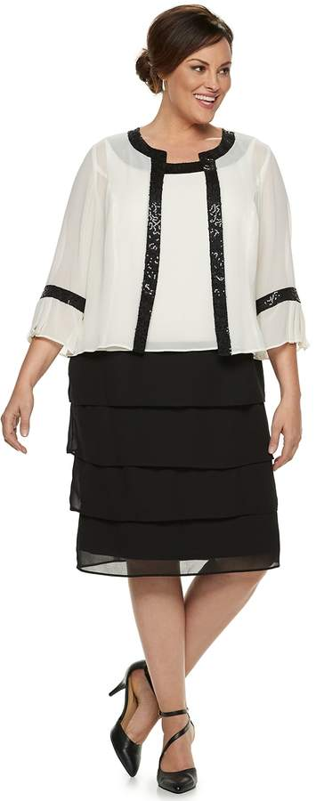 Plus Size Tiered Dress & Jacket Set