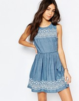 Jack Wills Chambray Dress With Embroidered Hem