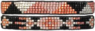 LeJu London Beaded Pack Of Two Bracelets In Pink, Silver & Black