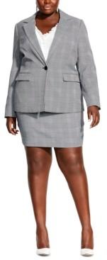 City Chic Plus Size Plaid Single-Button Blazer