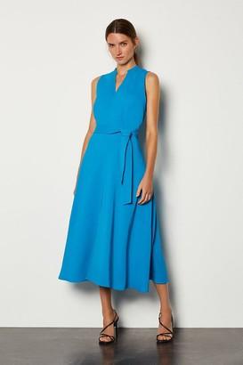 Karen Millen Notch Neck Soft Tie Midi Dress
