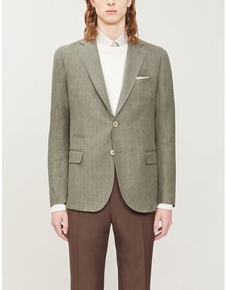 Eleventy Herringbone single-breasted linen-blend jacket