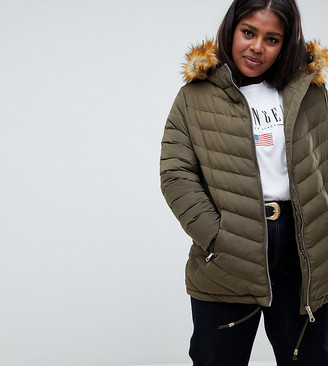 Lovedrobe Quilted Jacket With Faux Fur Trim