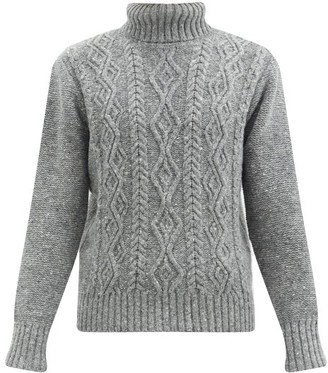 Inis Meáin Cable-knit Merino-wool Blend Sweater - Grey