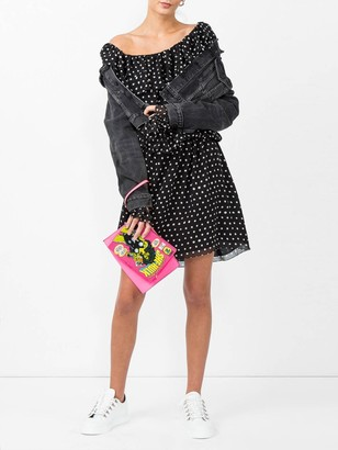 Saint Laurent Polka-dot One Shoulder Dress