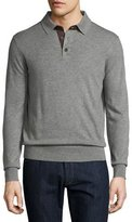 Neiman Marcus Cashmere Long-Sleeve Polo Sweater, Granite