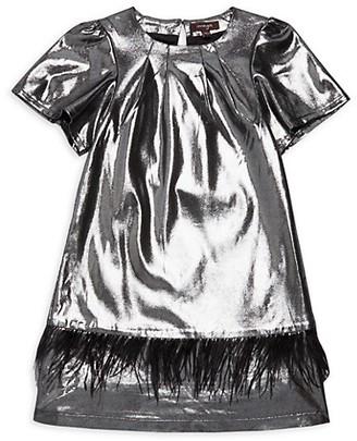 Imoga Little Girl's Girl's Kamryn Faux Feather-Trim Metallic Shift Dress