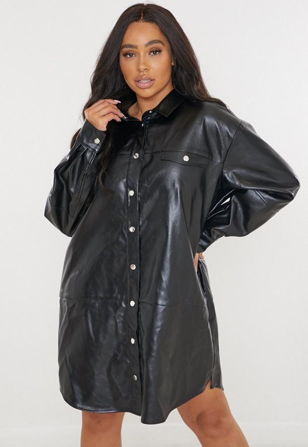 Missguided Plus Size Black Faux Leather Shirt Dress