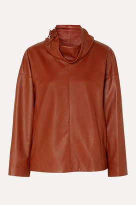 Salvatore Ferragamo Leather Turtleneck Top - Orange