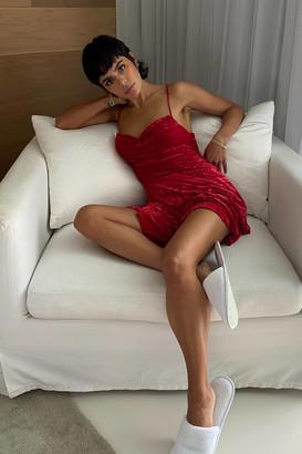 Urban Outfitters Lexi Velvet Cowl Neck Mini Dress