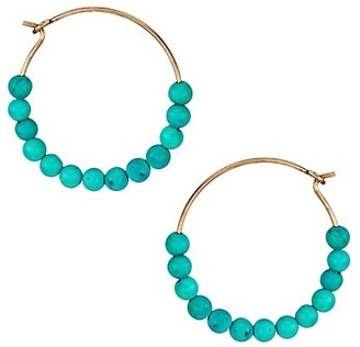 ginette_ny Maria 18K Rose Gold & Turquoise Beaded Small Hoop Earrings