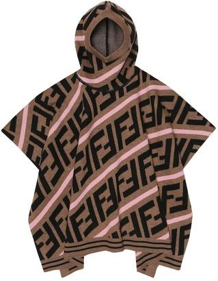 Fendi Kids FF hooded wool-blend cape