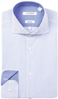 Isaac Mizrahi Banker Stripe Slim Fit Dress Shirt