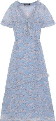 Markus Lupfer Ellie Bow-detailed Floral-print Georgette Midi Dress