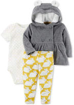 Carter's 3-Pc. Peplum Fleece Hoodie, Bodysuit & Leggings Set, Baby Girls (0-24 months)