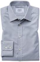 Charles Tyrwhitt Slim Fit Large Puppytooth Light Grey Cotton Dress Shirt Single Cuff Size 15/34