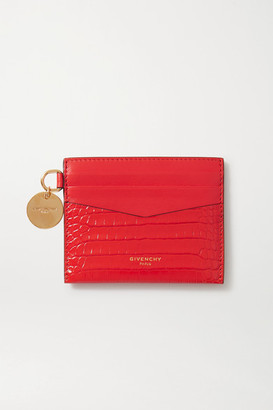 Givenchy Gv3 Croc-effect Leather Cardholder - Red