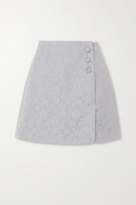 ALEXACHUNG Embroidered Wrap-effect Woven Mini Skirt - Sky blue