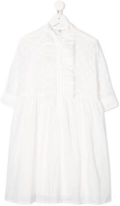 Fendi Ruffled Band Collar Dress