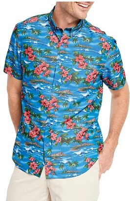 Johnston & Murphy Short Sleeve Hibiscus Island Print (Blue) Men's Clothing