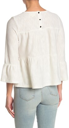 MelloDay Tiered Textured Back Button Back Knot T-Shirt