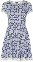 Dorothy Perkins Blue Floral Daisy Trim Fit & Flare Dress