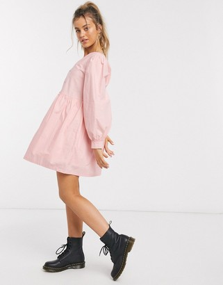 Daisy Street mini smock dress with button front and balloon sleeves in cotton