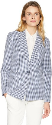 Nine West Women's 1 BTN Peak Lapel Gingham Jacket