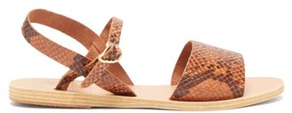 Ancient Greek Sandals Kaliroi Snake-effect Leather Sandals - Brown Multi
