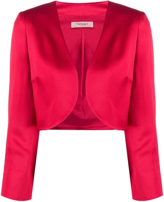 Twin-Set Cropped Open Front Jacket