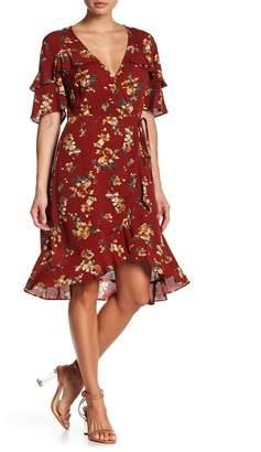 Blu Pepper Ruffle Floral Wrap Dress