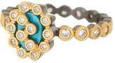 Freida Rothman Two-Tone Turquoise Cutout Marquise Ring - Size 5