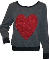 Wildfox Couture Red Sparkle Heart Baggy Beach Jumper in Dirty Black