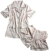 CHUNG Womens Imitation silk Short Sleeve Shirts with Shorts Pajama Sets Light Weight Comfort XS-L, Pink, S