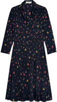 Chinti and Parker Pleated Printed Stretch-silk Shirt Dress - Navy