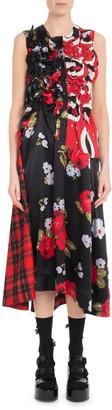 Simone Rocha Sleeveless A-Line Ruched Floral-Print & Plaid Tartan Dress