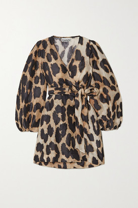 Ganni Leopard-print Linen And Silk-blend Wrap Mini Dress - Leopard print