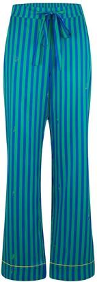 Sleepy Wilson Poppy Silk Pyjama Trousers In Rainforest Stripe
