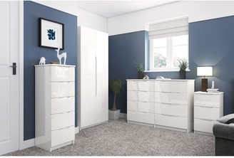 Monaco Ready Assembled 4 Piece Gloss Package - 2 Door Mirrored Wardrobe, 5 Drawer Chest and 2 Bedside Chests