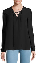 Max Studio Lace-Up Solid Blouse, Black
