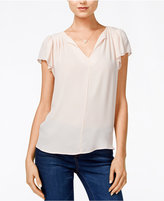 Maison Jules Flutter-Sleeve Woven Top, Only at Macy's