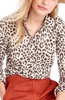 J.Crew Women's Perfect Leopard Print Linen & Coton Shirt