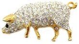 PYNK JEWELLERY Gold Plated & Swarovski Crystal Pig Brooch