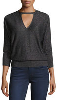 Milly Italian Shimmer Cutout Sweater