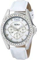 XOXO Women's XO3348 Rhinestones Accent White Strap Watch